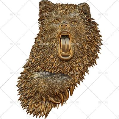 STL модель для ЧПУ Панно Медведь PN-13
