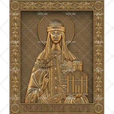 STL модель для ЧПУ Икона Святая Княгиня Ольга RL-76