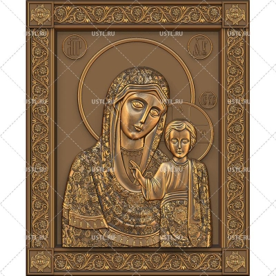 STL модель для ЧПУ Икона Казанская Пресвятая Богородица RL-85