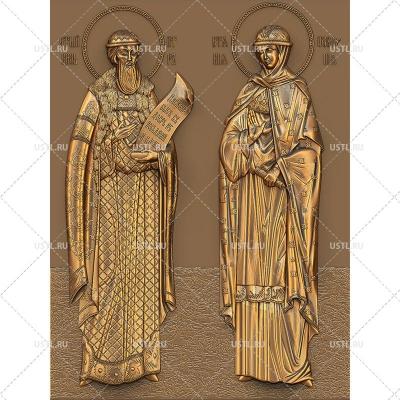 STL модель для ЧПУ Икона Святые Петр и Феврония RL-138