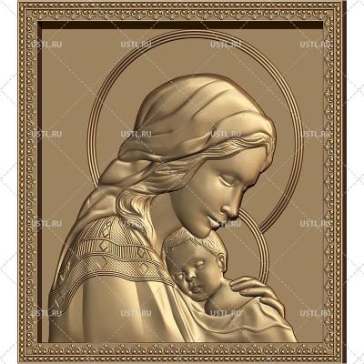 STL модель для ЧПУ Икона Дева Мария с младенцем RL-262