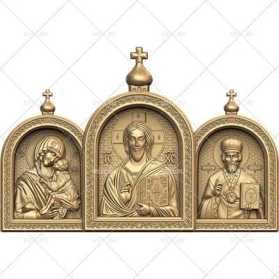 STL модель для ЧПУ Икона-триптих Богородица, Спаситель, Николай RL-283