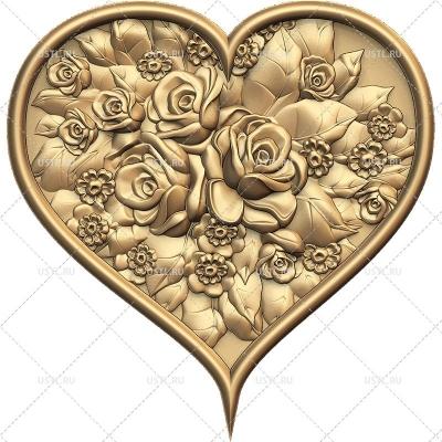 STL модель Сердце в розах PN-263 для ЧПУ и печати
