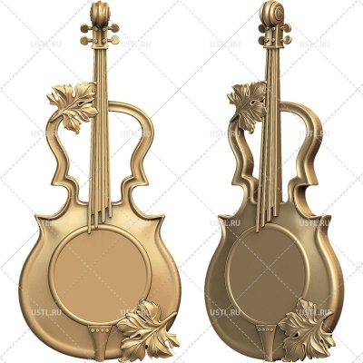 STL модель для ЧПУ Часы Скрипка CH-12
