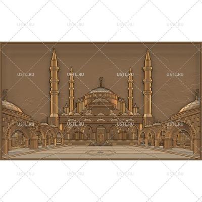 STL модель для ЧПУ Панно Мечеть Сердце Чечни RL-238