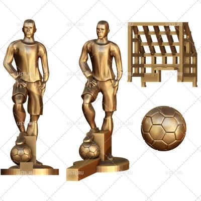 3D модель в STL формате Настольный футбол - вратарь, игрок, ворота, мяч NR-49 для ЧПУ