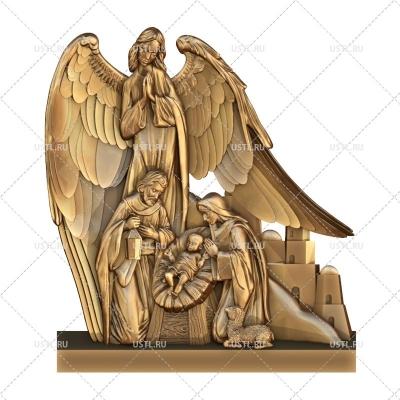 STL модель для ЧПУ Панно Рождение Христа с Ангелом RL-334